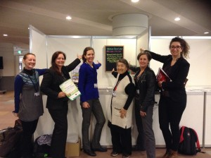 WMG at the Booth, Day 1, showing off the message on women's leadership